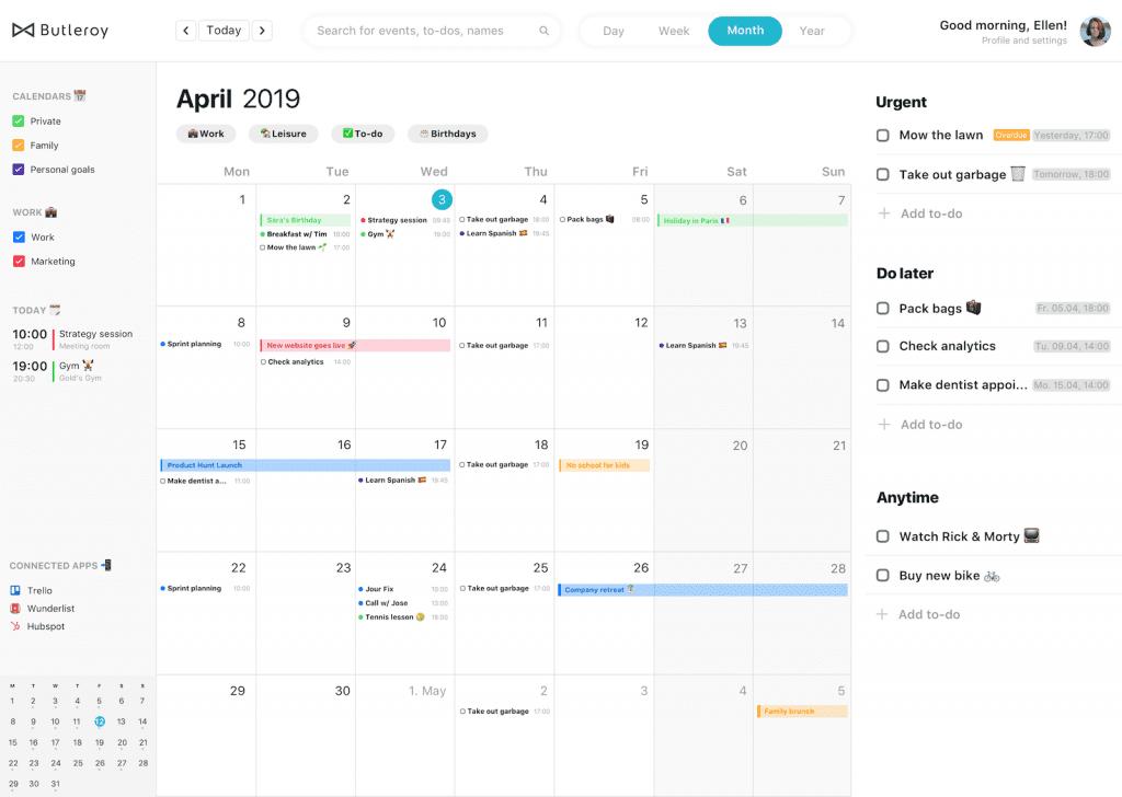Butleroy Calendar