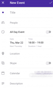 calendar app add event form