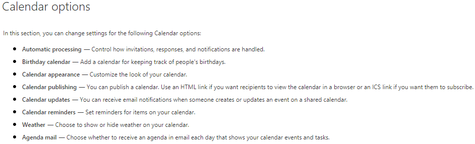 office 365 calendar options