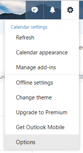 office 365 calendar website settings