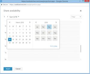 email office 365 calendar availability