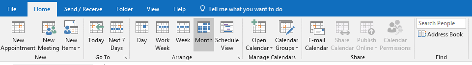 outlook calendar ribbons