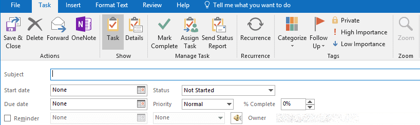 outlook calendar tasks