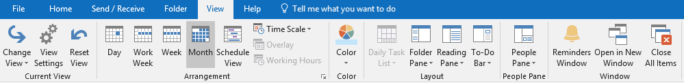 outlook calendar view
