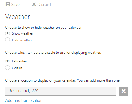 office 365 calendar weather options