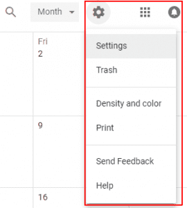 googe calendar website settings icon