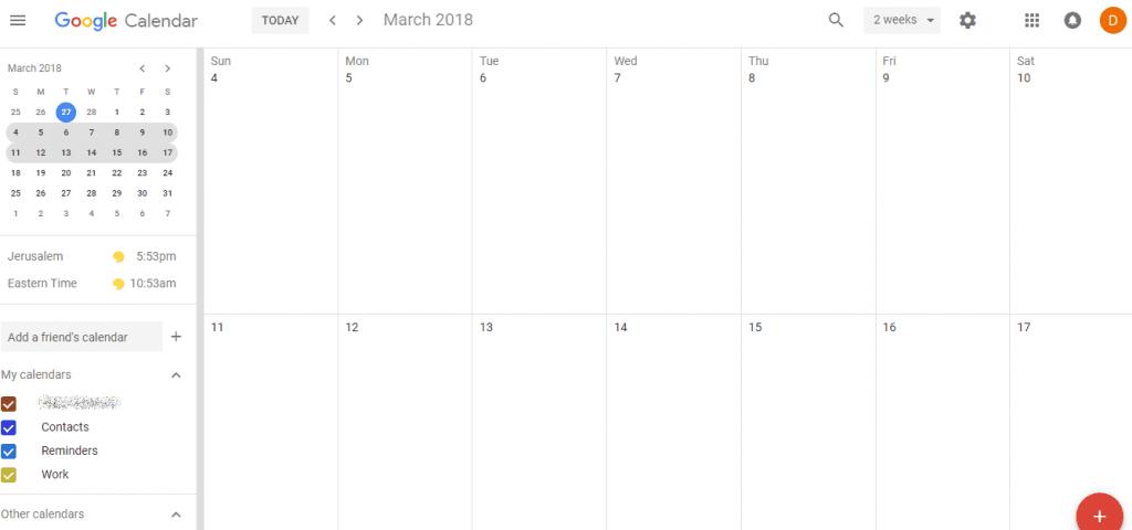google calendar sidebar