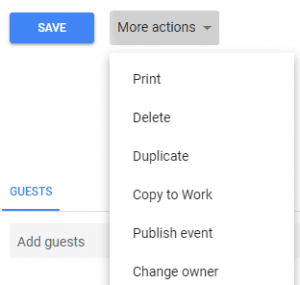 google calendar event creation more actions
