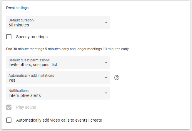 google calendar event settings