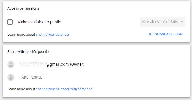Google calendar access permissions sharing settings