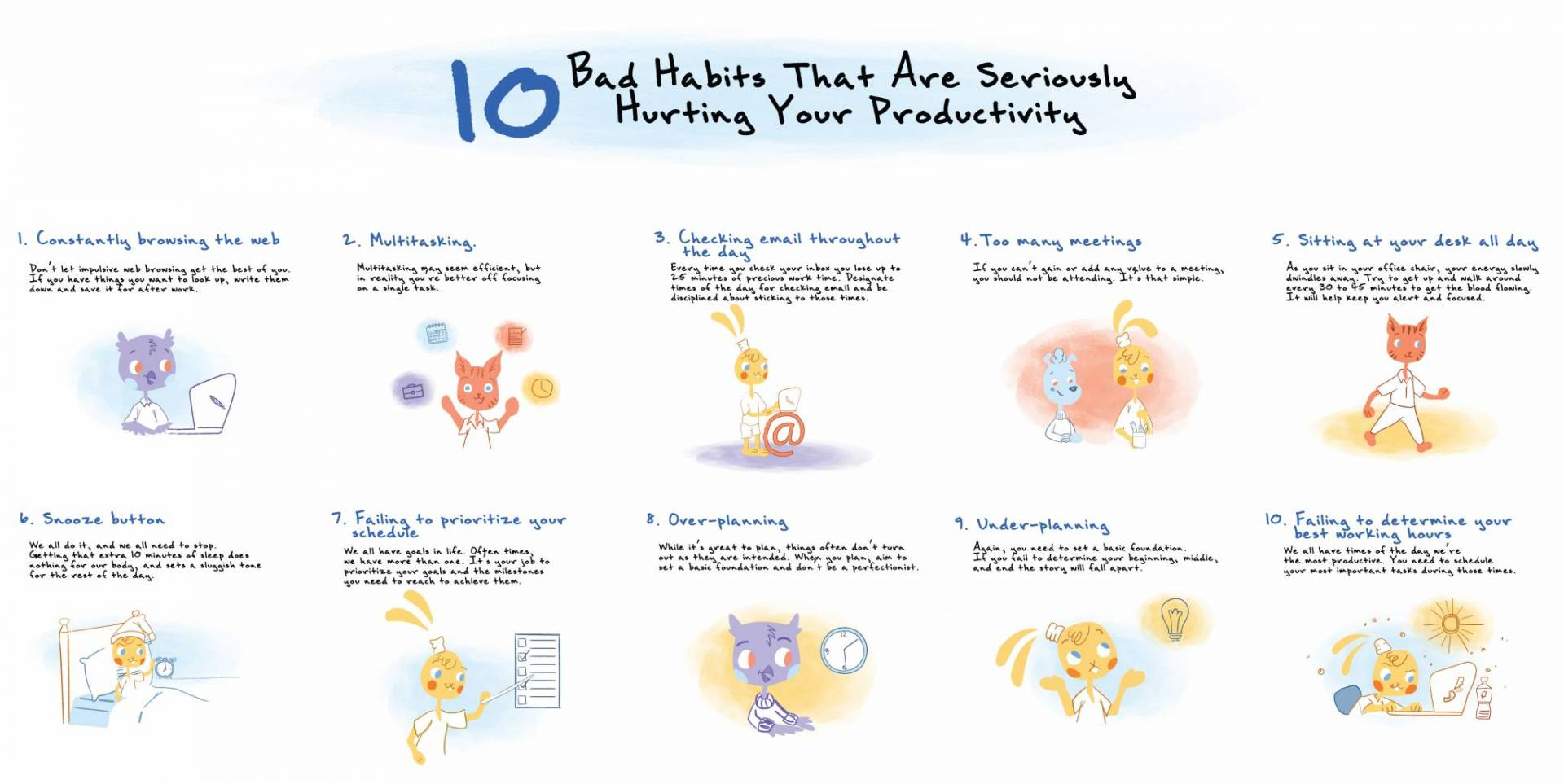 10 Bad habits you should break to be more productive