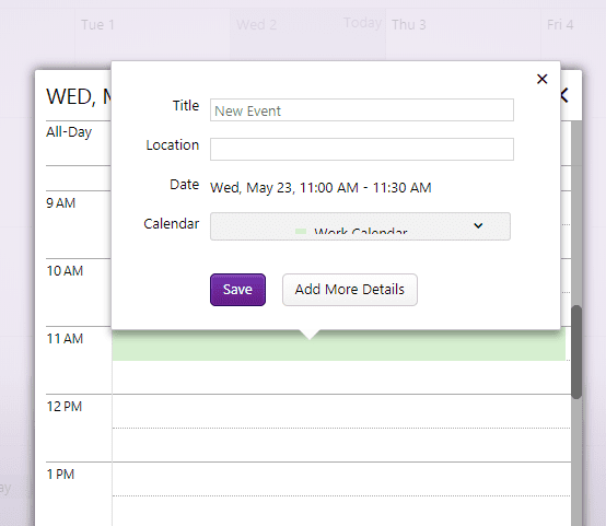 add an event to yahoo calendar shortcut