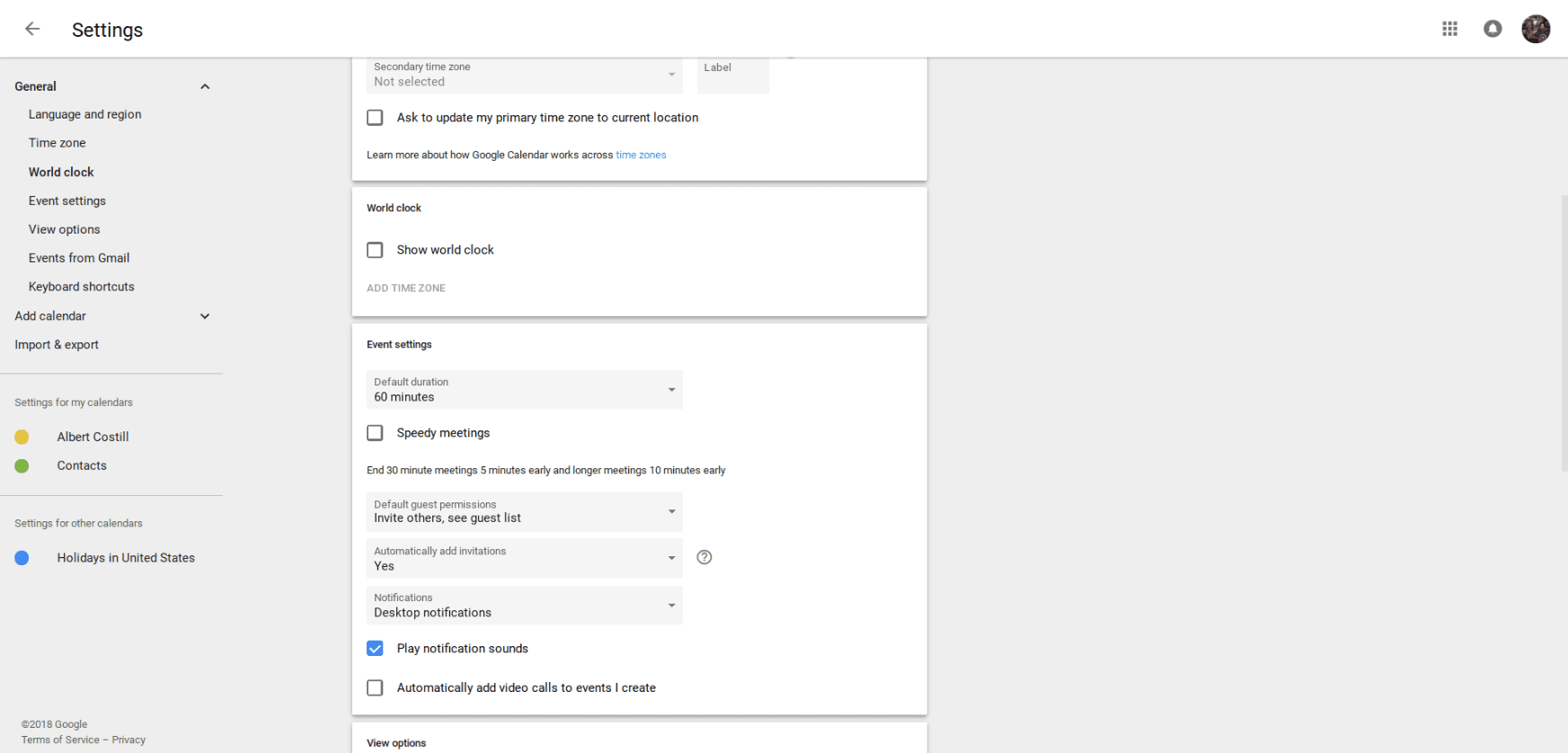 Google Event settings tab