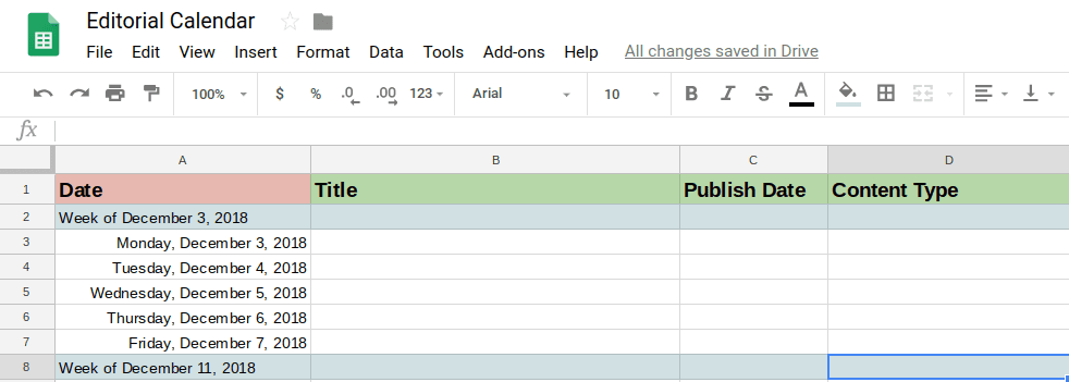 editorial calendar in Google sheets