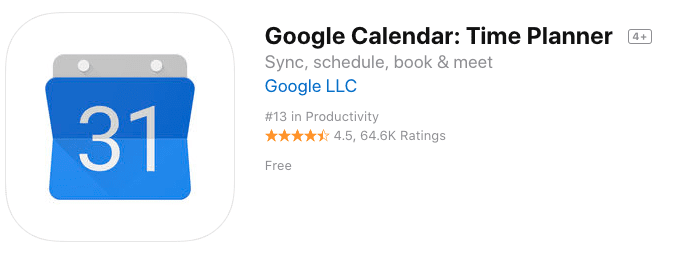 Google Calendar App in the App Store
