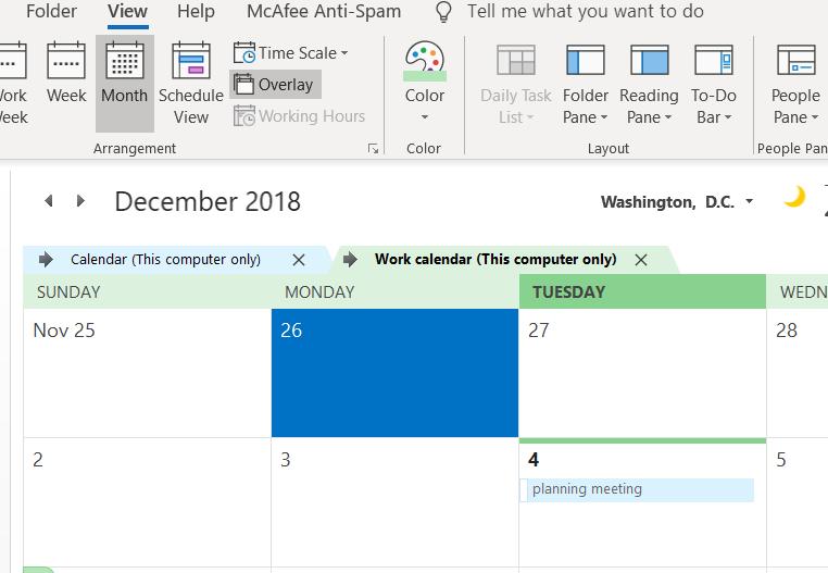 Overlay calendars