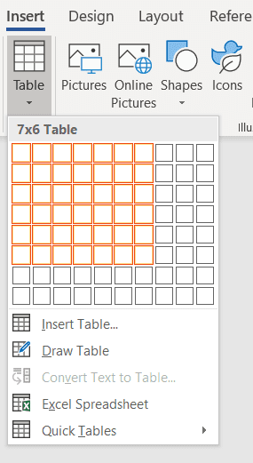 Make a table in Word