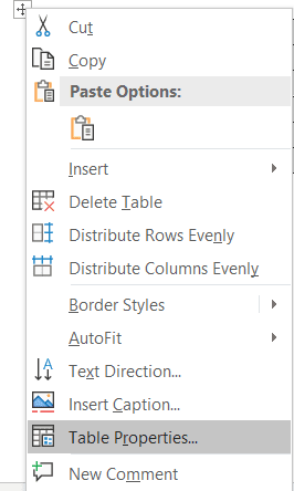 Word's table properties