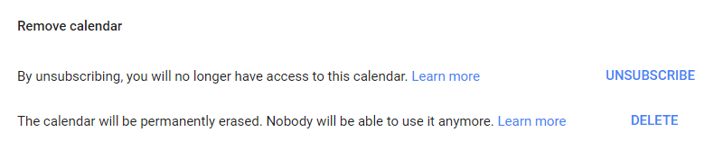 Unsubscribe or delete a Google calendar.