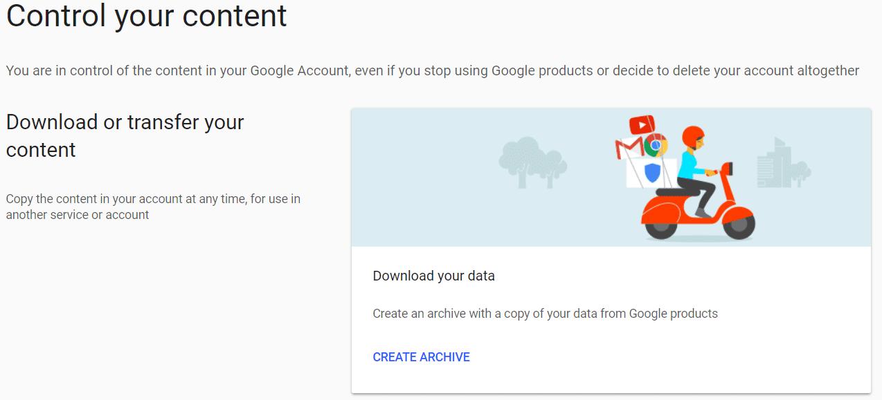 Google content archive