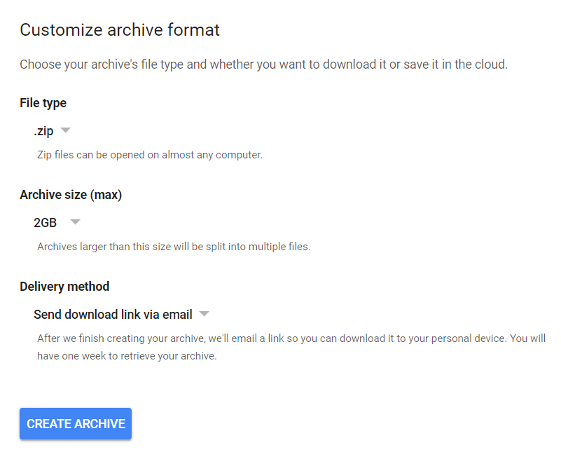 Format your Gmail archive