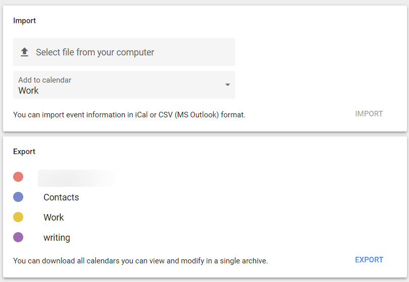 Import and export functions on Google Calendar.