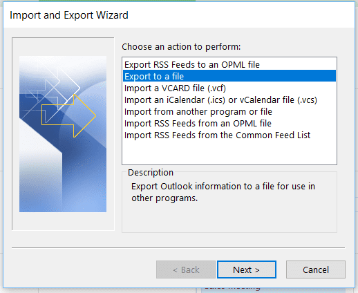Export events from Outlook