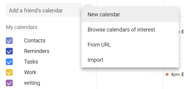 Create a new Calendar in Google.