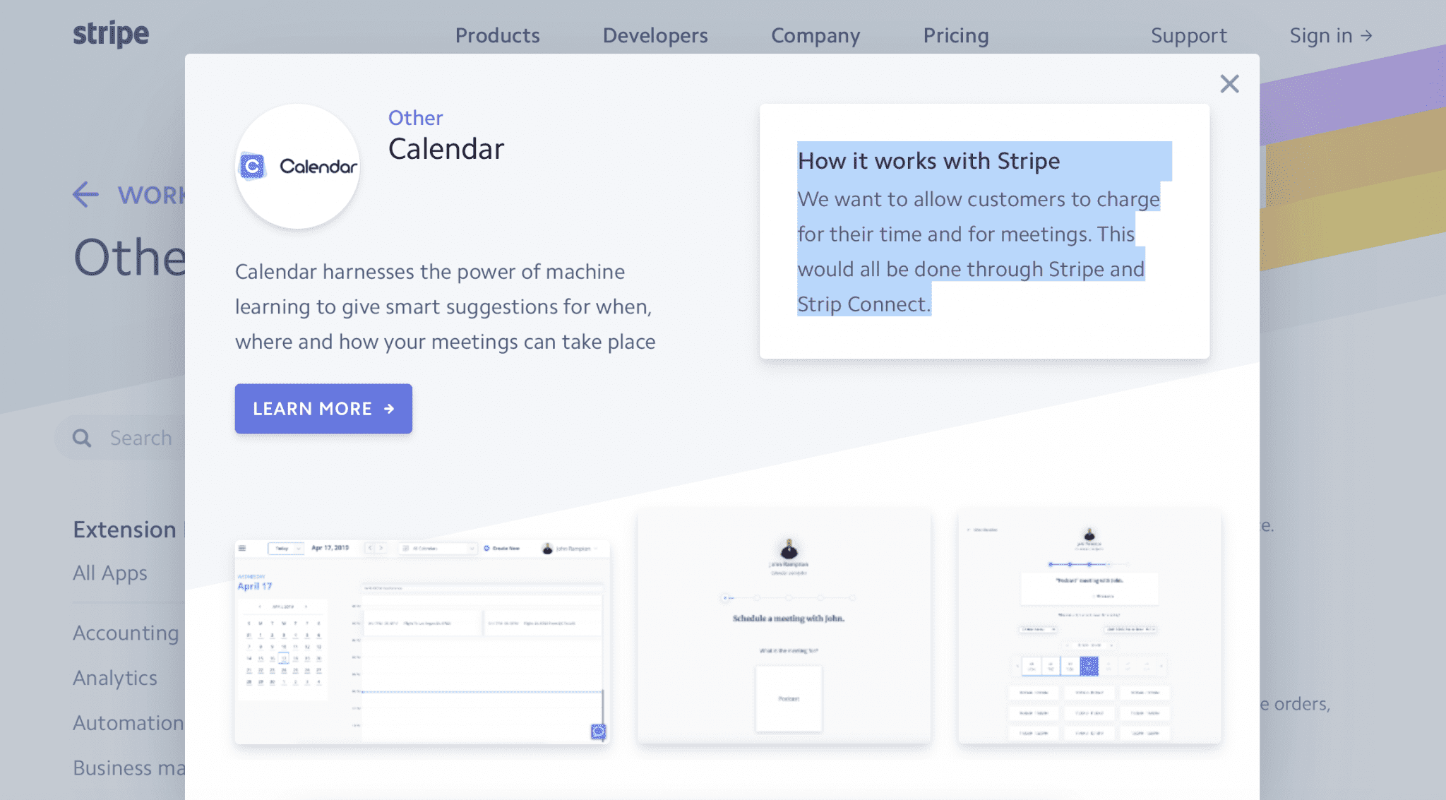 Stripe and Calendar integration
