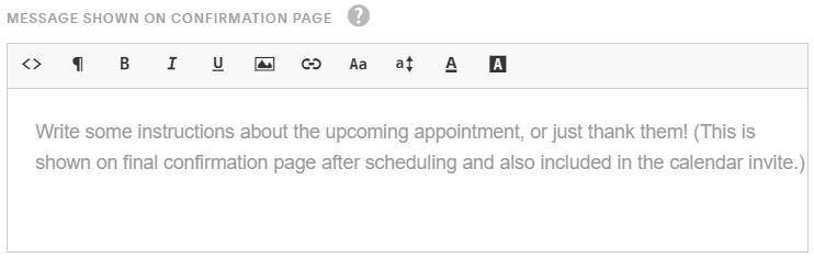 write instructions on appt page Acuity