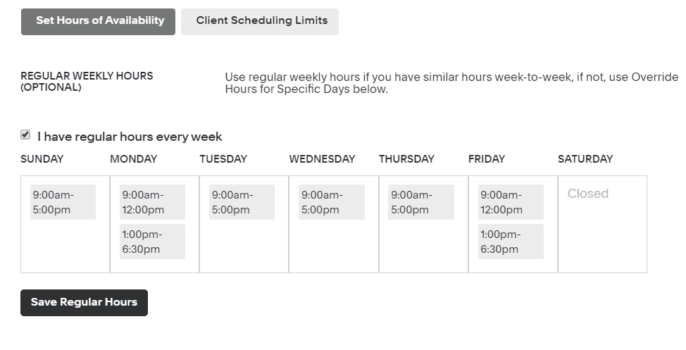 set hours of availability with Acuity Scheduling