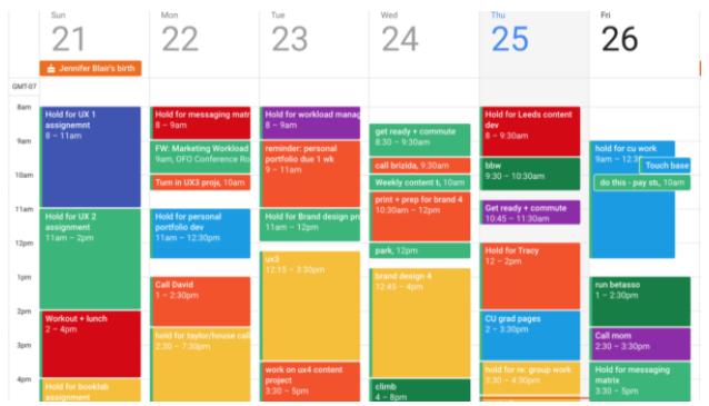 color coding Calendar